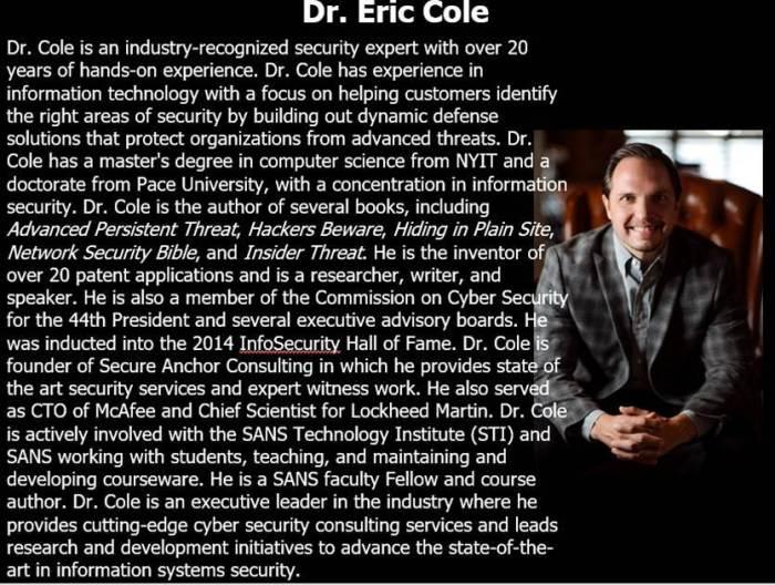Eric Cole Bio